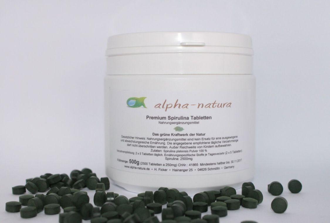 2x 500g Premium Spirulina Tabletten - 100% ohne Zusätze- 4.000 Presslinge a250mg