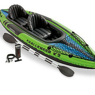 Intex Challenger K2 2-Person Inflatable Kayak and Accessory Kit with Oars & Pump