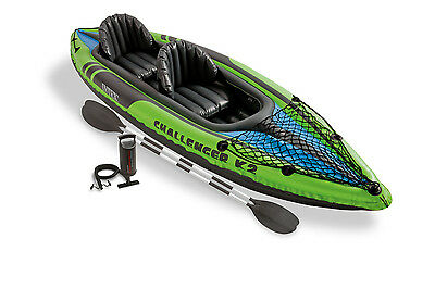 Intex Challenger K2 Kayak, 2-Person Inflatable Raft Boat Set with Oars and Pump