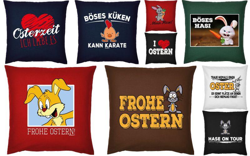 Ostern Deko Kissen - Osterdeko - cooles Oster Motiv Spruch Osterhase Geschenk