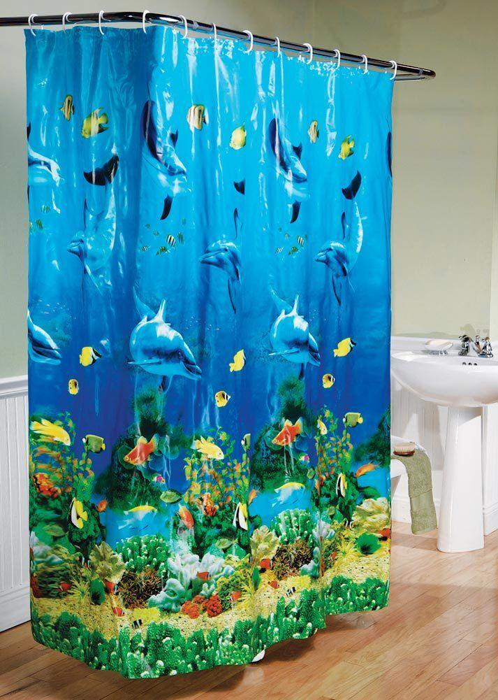 Tropical Beach Dolphin Sea Fish Shower Curtain Blue Ocean