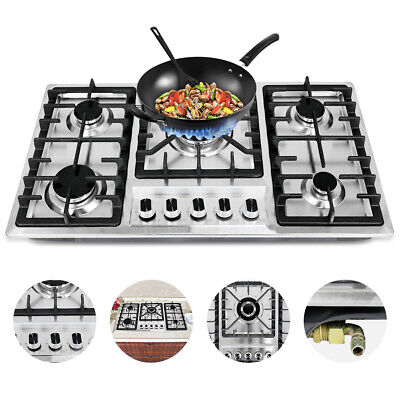 "33.8"" 5 Burners Built-In Stove Top Gas Cooktop Kitchen Easy to Clean Gas Cooking"