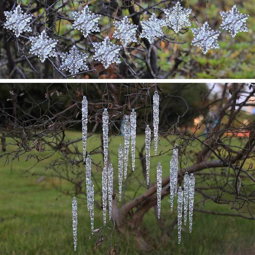 weihnachtsdeko acryl eiszapfen und schneeflocken anhänger christbaumschmuck