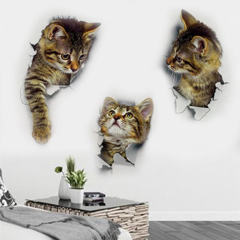 Wandaufkleber  3D Kätzchen Katze Schlafzimmer Kühlschrank Aufkleber Wohnkultur