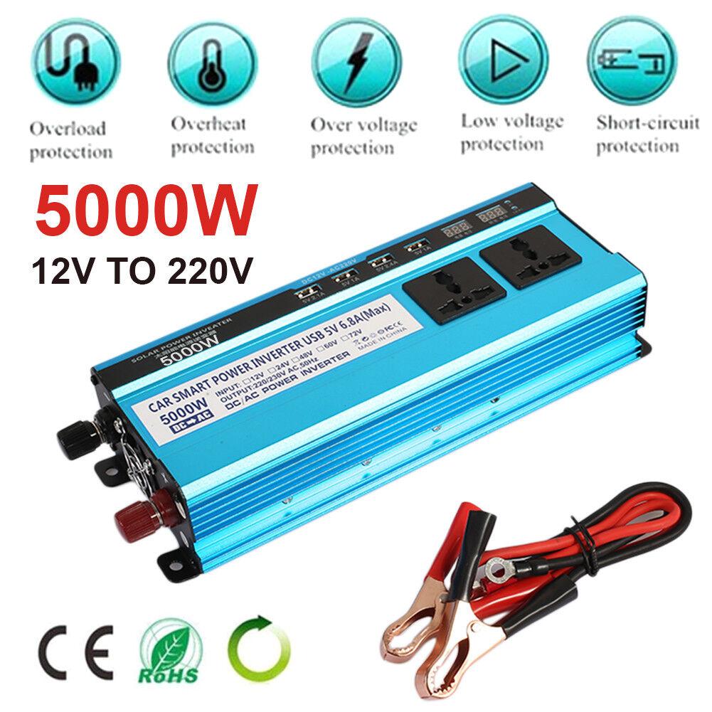 details about solar power inverter 5000w led display dc 12v to ac 220v sine wave converter lot [ 1001 x 1001 Pixel ]