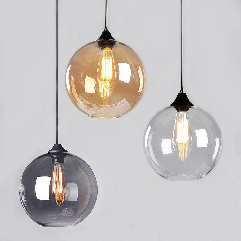 Modern Vintage Pendant Ceiling Light Glass Globe Lampshade