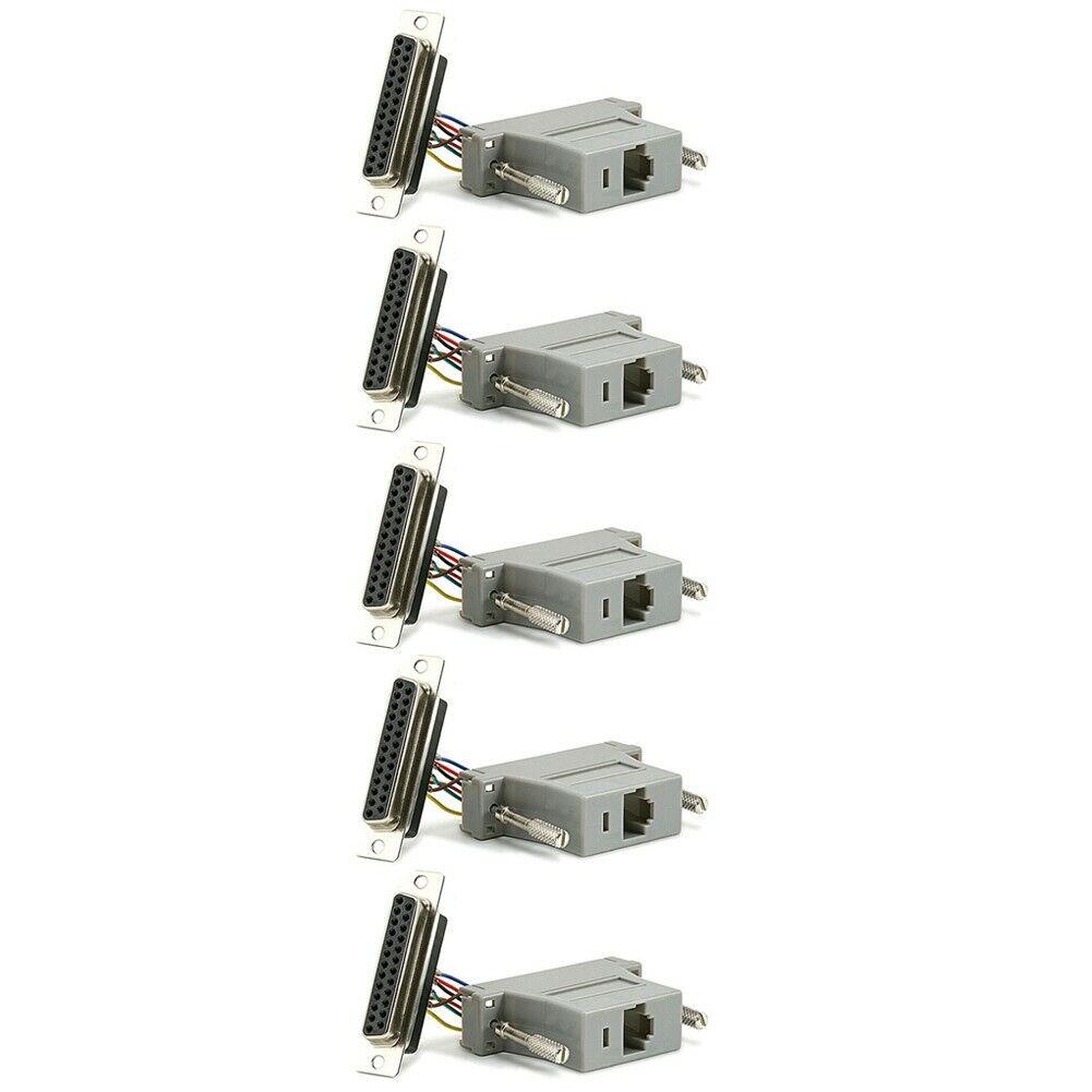 5 Pcs DB25 25 Pin Parallel Female to RJ45 Cat5 8P8C