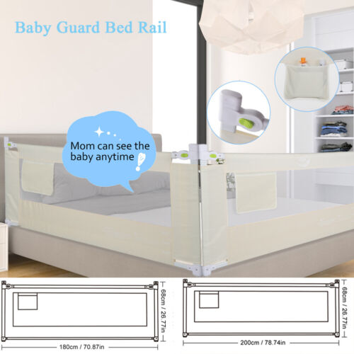 """71""""/79"""" Foldable Toddler Bed Rail Baby Crib Side Safety Guard Kid Infant Bedrail"""