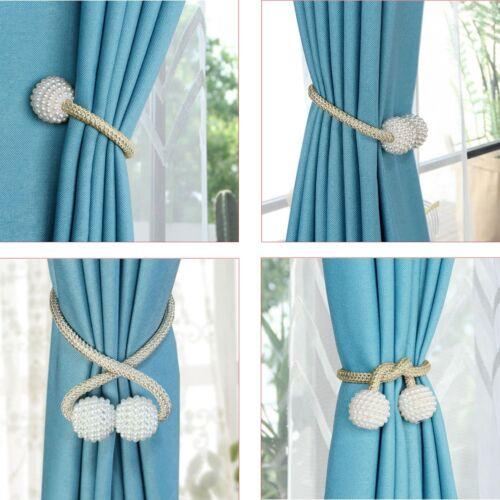 2x magnetic curtain tiebacks pearl bead