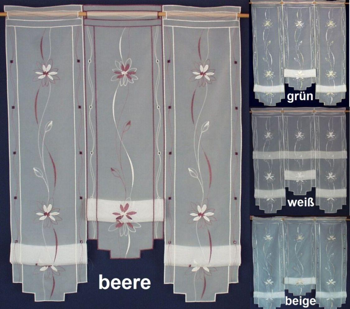 Gardine Hochraff Vorhang bestickt Blume Raffrollo Clip Panneaux Scheibengardine