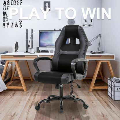 PC Gaming Chair Massage Office Chair Ergonomic Desk Chair Adjustable PU Leather 5