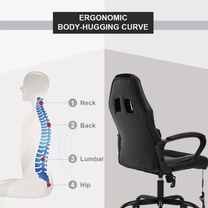 PC Gaming Chair Massage Office Chair Ergonomic Desk Chair Adjustable PU Leather 4