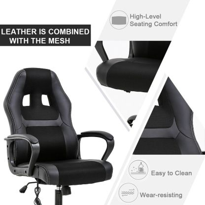 PC Gaming Chair Massage Office Chair Ergonomic Desk Chair Adjustable PU Leather 3