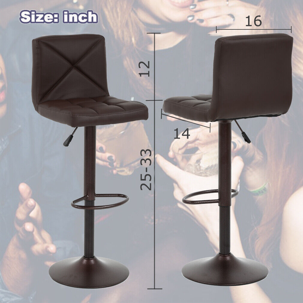 2 Pu Leather Modern Adjustable Swivel Barstools Hy In Home Garden Furniture Benches Stools Ebay For Blanja