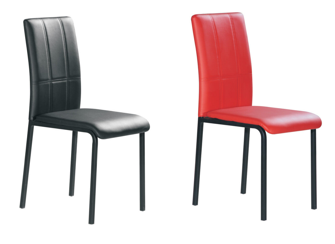 Black Metal Dining Chairs Black Red Dining Chairs Faux Leather Foam Padded 2 4 6
