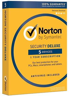 Norton Security Deluxe 2018 for 5 Devices PC Mac Android iOS Box (Key Card)