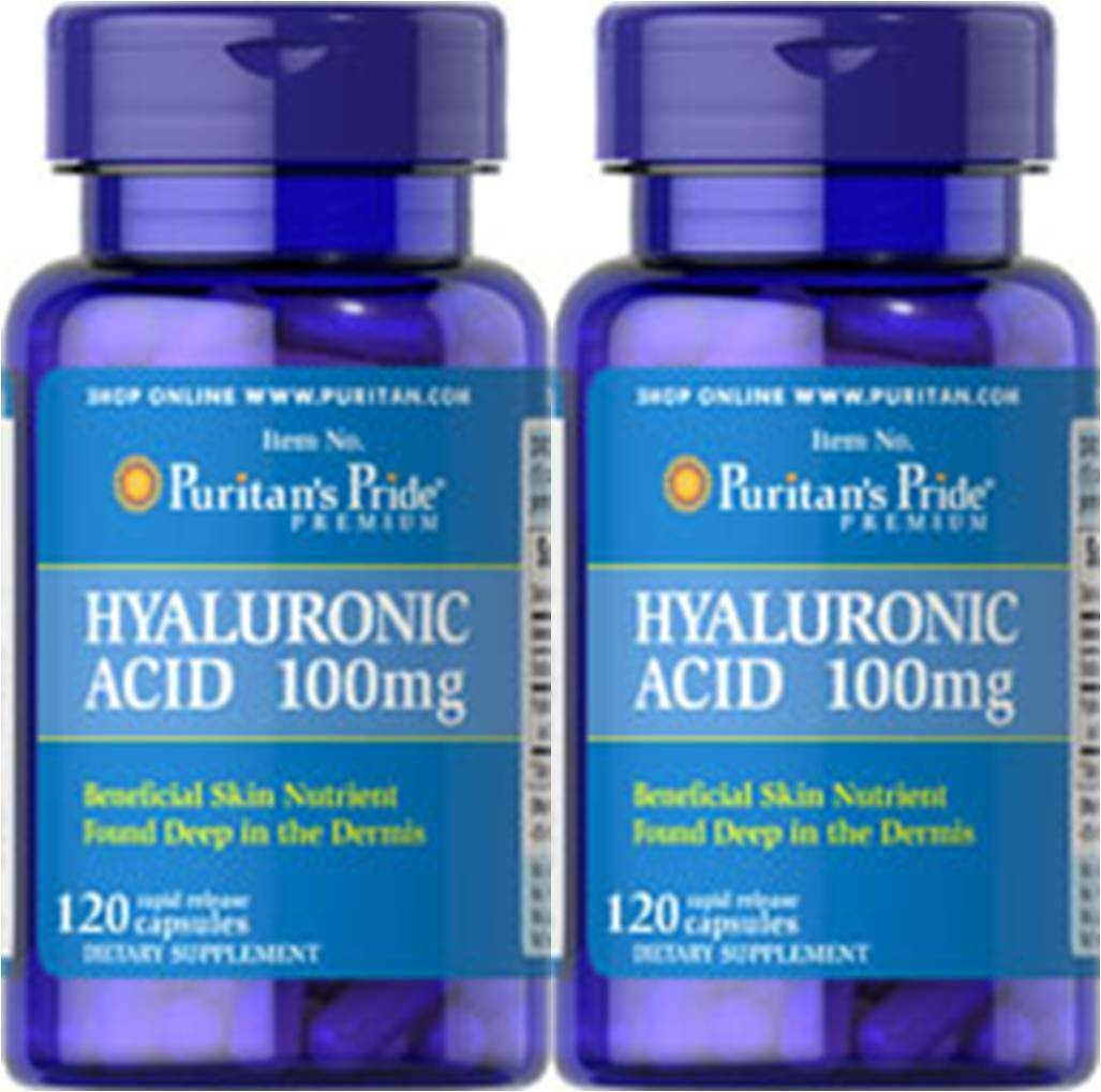 2X Puritan's Hyaluronic Acid 100mg 240 Cap Lubricate Joint ...