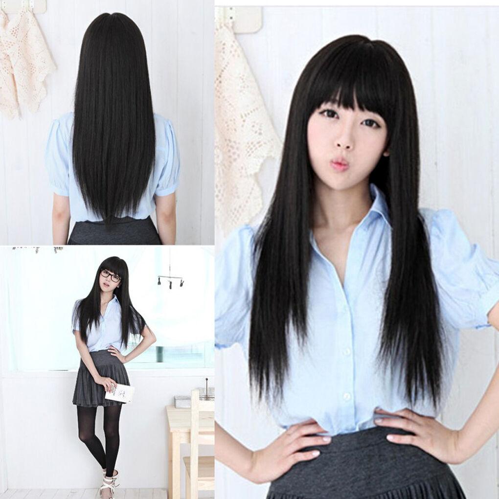 black long straight neat bang