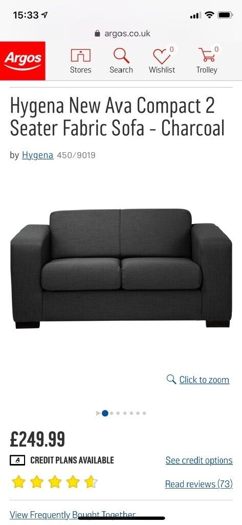 argos ava fabric sofa review living es sectional sofas one month old barely used grey hygena new compact 2 seater