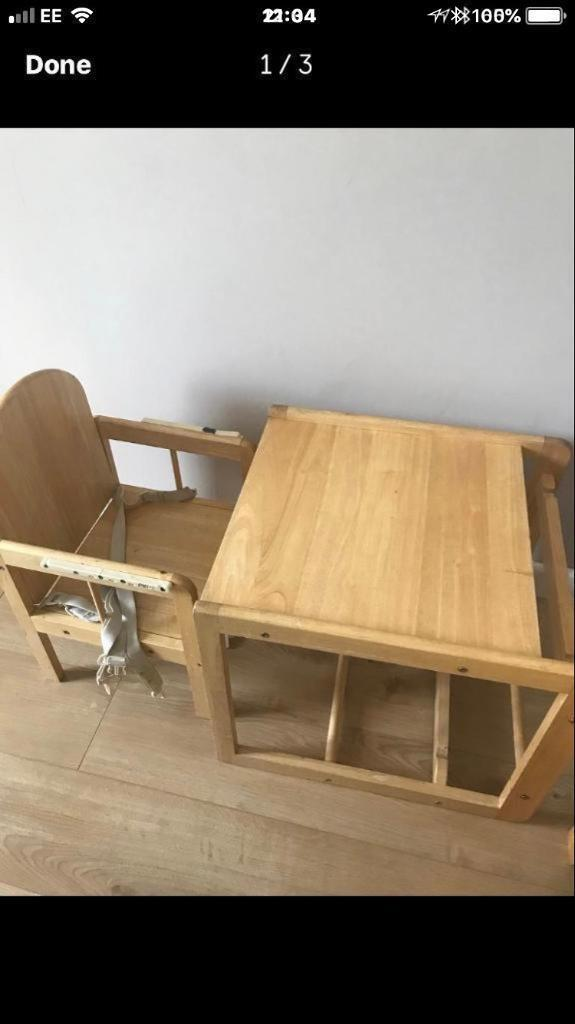 high chair converts to table and red desk without wheels solid wooden in dunblane