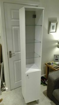 "Ikea ""Fullen"" Tall White Bathroom Cabinet With Cupboard ..."