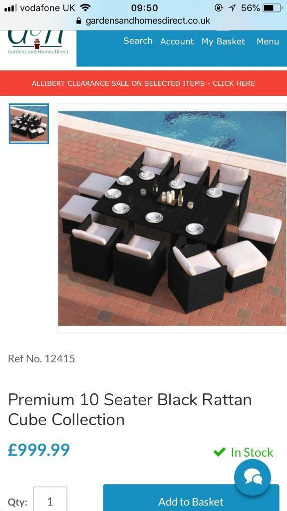 rattan garden chairs only uk deck chair replacement covers australia 10 seater black furniture 1 year old in blantyre