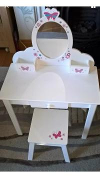ELC Child's White Wooden Dressing Table & Stool Early ...