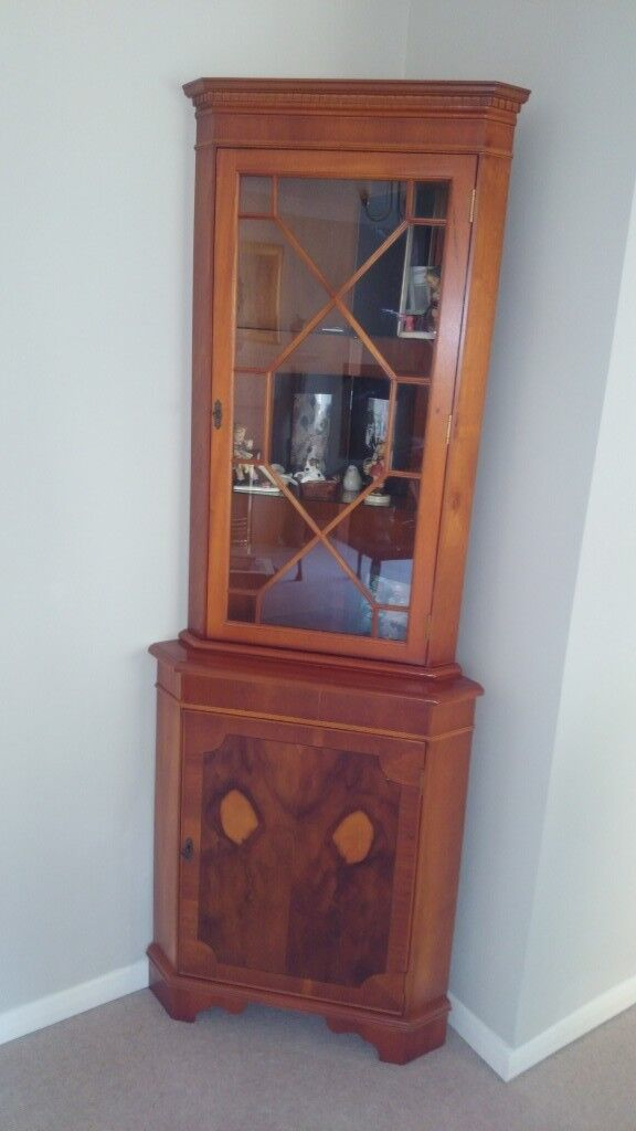 living room glass display cabinets small furniture arrangement with fireplace corner unit yew wood lounge 2 door cabinet as new collect from exwick