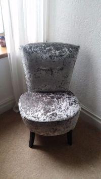 Silver crushed velvet round bedroom chair | in Pontypridd ...