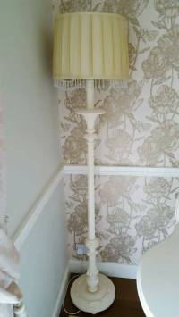 shabby chic wooden tall floor lamp with beaded shade | in ...