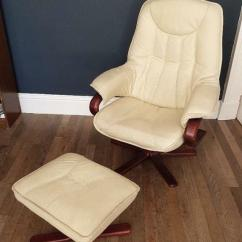 Swivel Chair Uk Gumtree Rio Brands Beach Cream Faux Leather And Footstool In Partick Glasgow