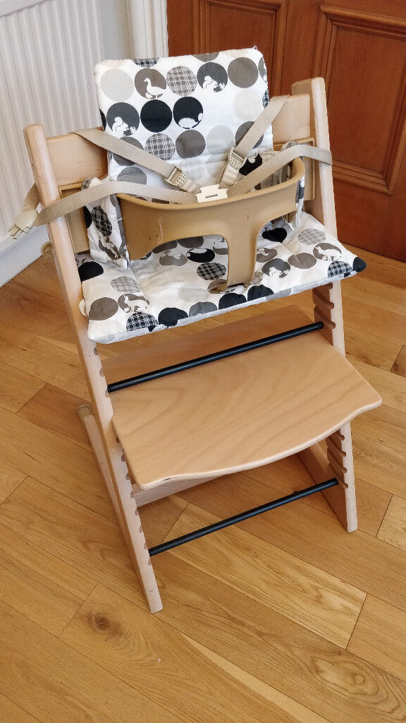 stokke chair harness serena dining tripp trapp high straps www picswe com complete with cushion and baby set all excellent condition jpg