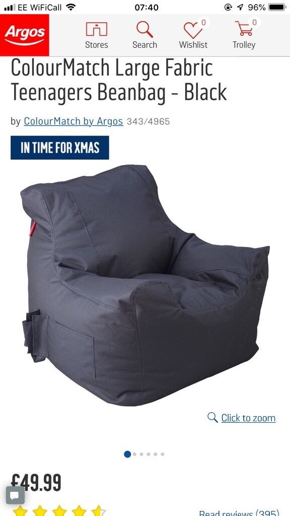 bean bag gaming chair argos butterfly covers teenager large black beanbag bargain rrp 50 immaculate