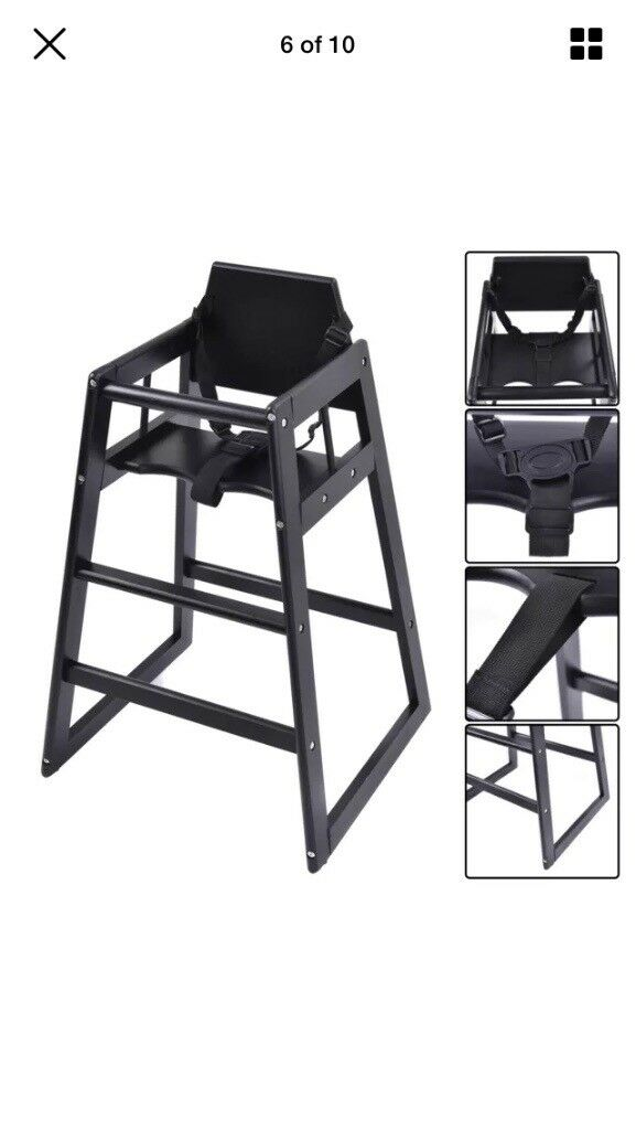 restaurant style high chair best captain chairs for boats black wooden in newark