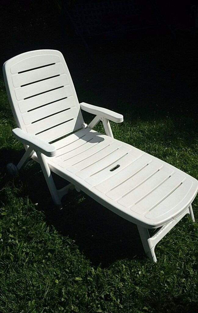 plastic deck chairs office chair buy online flair plaisir hard white sun lounger recliner on wheels | in bishops waltham, hampshire ...