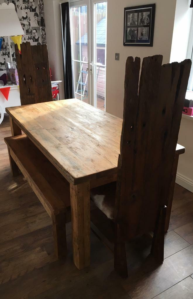 Chunky Reclaimed Wood Dining Set For Sale In Insch Aberdeenshire Gumtree