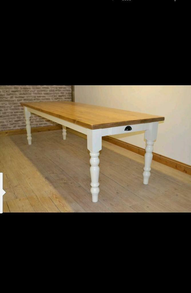 10 Seater 8ft X 3ft Rustic Solid Pine Farmhouse Kitchen