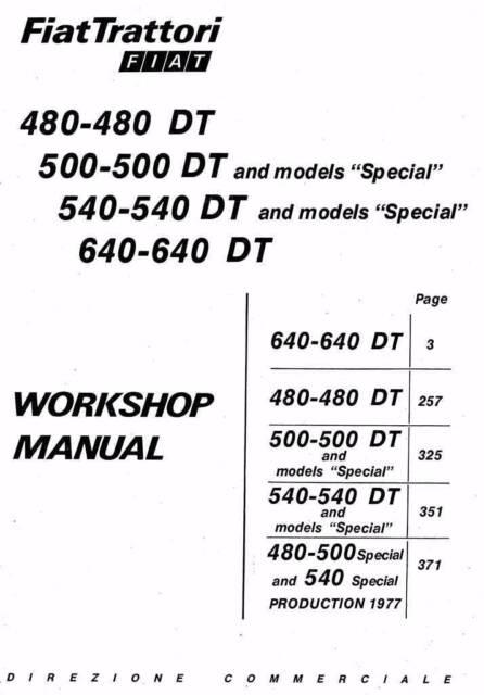 Fiat Tractor 480 500 540 640 & DT & Special Workshop