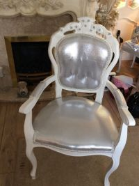VINTAGE WHITE LOUIS DRESSING TABLE CHAIR | in West Derby ...