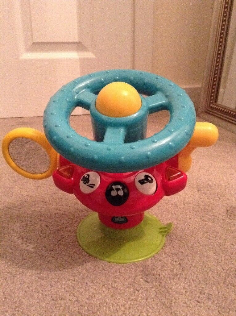 high chair suction toys havertys dining chairs elc steering wheel highchair toy in wymondham norfolk