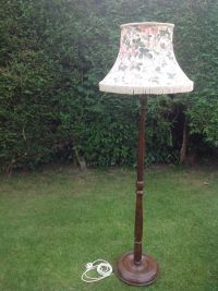 Antique Vintage wood turned floor lamp stand with original ...