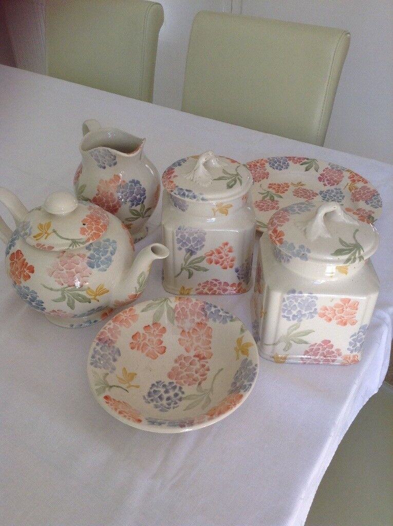 kitchen pottery canisters wall plaques ware including teapot jug plate dish hand painted in floral design