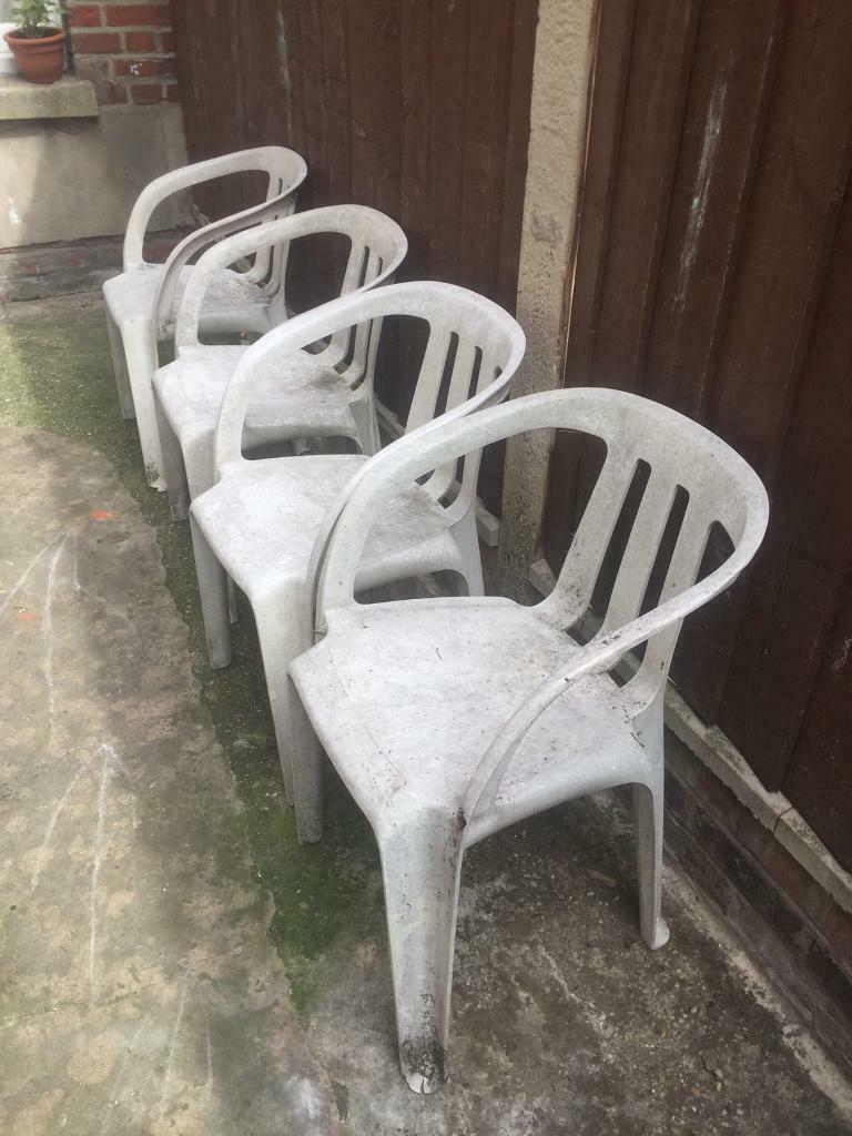4 X White Plastic Outdoor Garden Patio Chairs In Norwich Norfolk Gumtree
