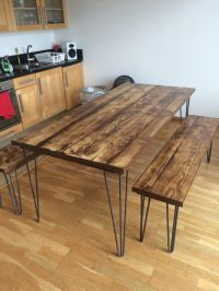 Recycled scaffold plank board table/bench on 12 mm Hairpin ...