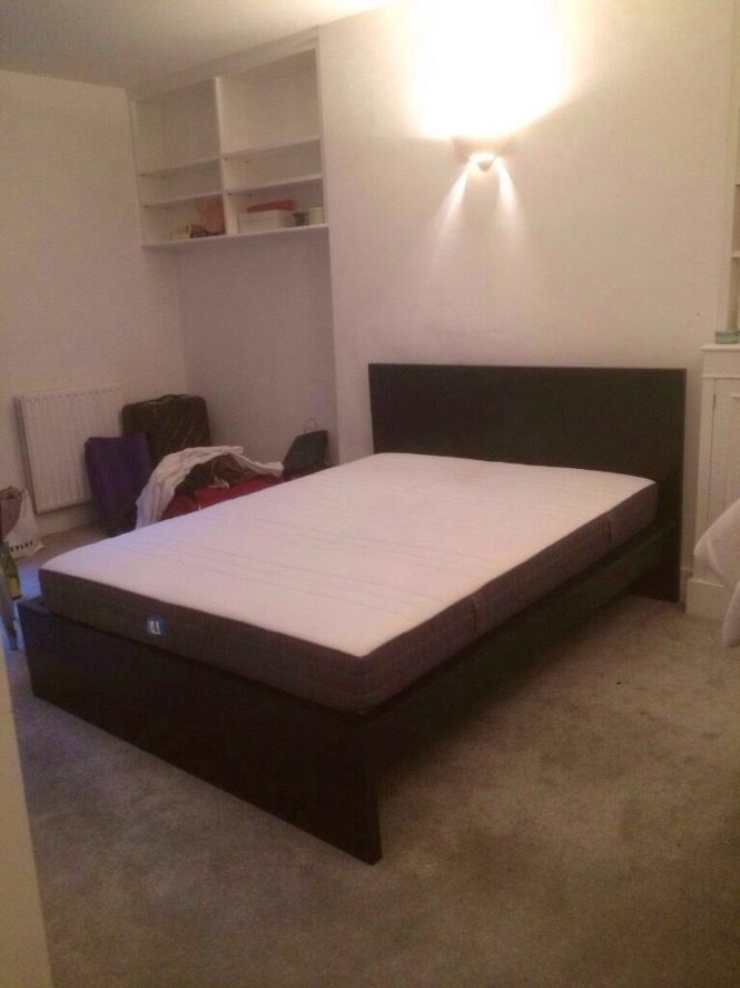 Ikea King Size Malm Bed With Memory Foam Mattress Only Used For A Of