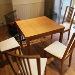 Glass Round Kitchen Table Islands In Kitchens Extendable Bjursta 50/70/90x90 Cm Ikea + 4 Chairs ...