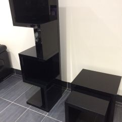 Living Room Furniture Black Gloss Decorative Mirrors For Next High 3 Piece Set Nest Of Tables Tv Cabinet Corner Unit