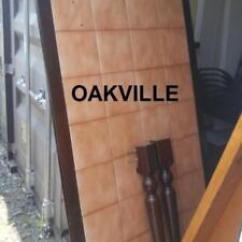 Large Kitchen Table Counter Resurfacing Wood Dining Buy New Used Goods Near You Find Oakville Solid Dark Inlaid Adobe Tiles Heavy Brown No Chairs Room