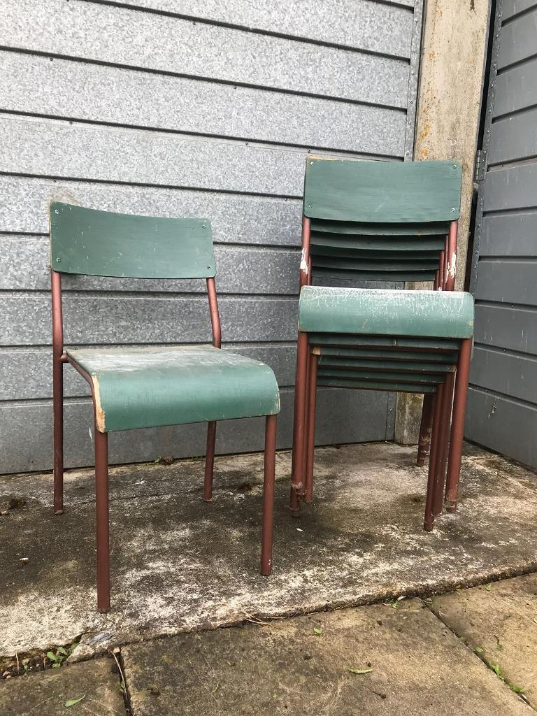 Mid Century Industrial Stacking Stackable Dining Chairs By Shepherd Wood Metal Cafe Bar In New Cross London Gumtree