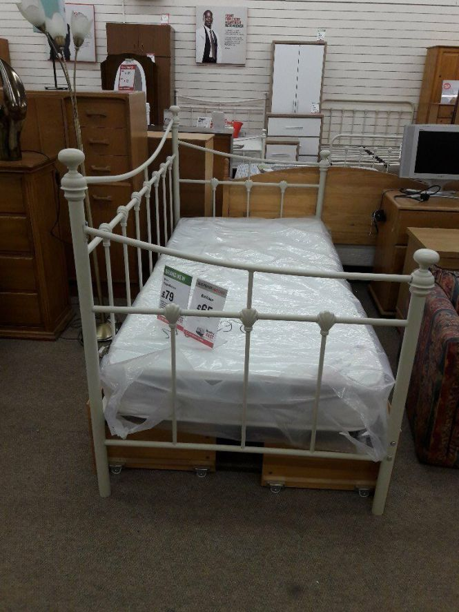 Single White Bed Frame Without Mattress